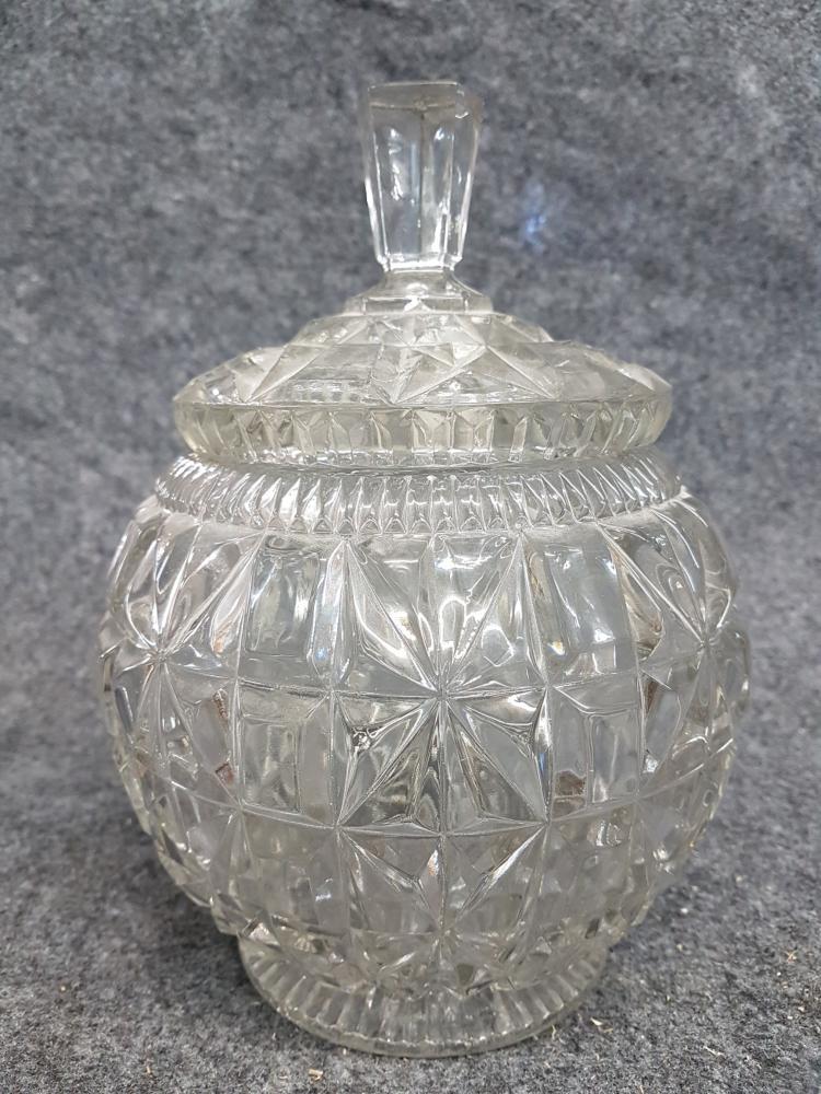Pressed glass lidded jar for Designer glass jars