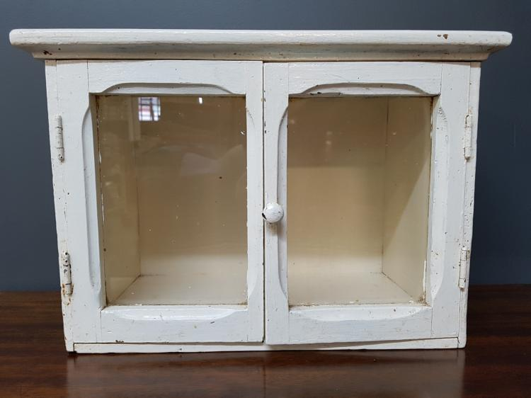 Small Antique Two Door Counter Display Medicine Cabinet