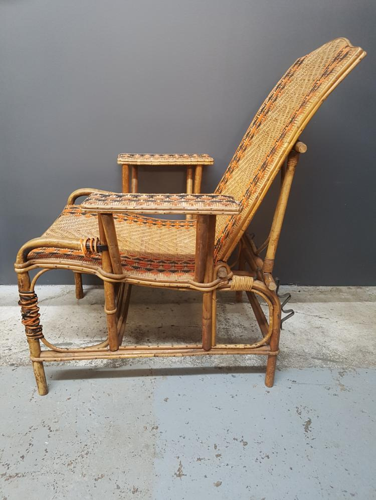 french 1920s art deco wicker and bamboo chaise steamer chai. Black Bedroom Furniture Sets. Home Design Ideas