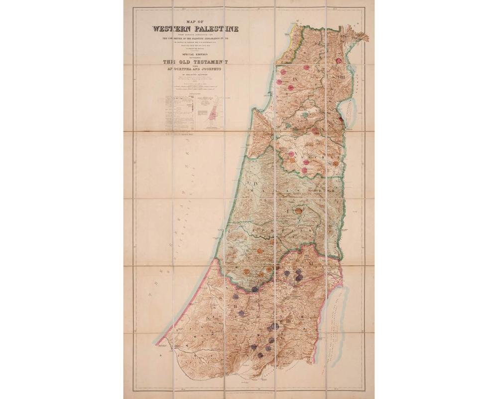 """The PEF """"Survey of Western Palestine"""" headed by Claude Conder and Horatio Kitchener – Eight Volumes of Publications, and a Special Edition of the Survey Map, marked with Biblical Sites – First Edition, 1881-88"""