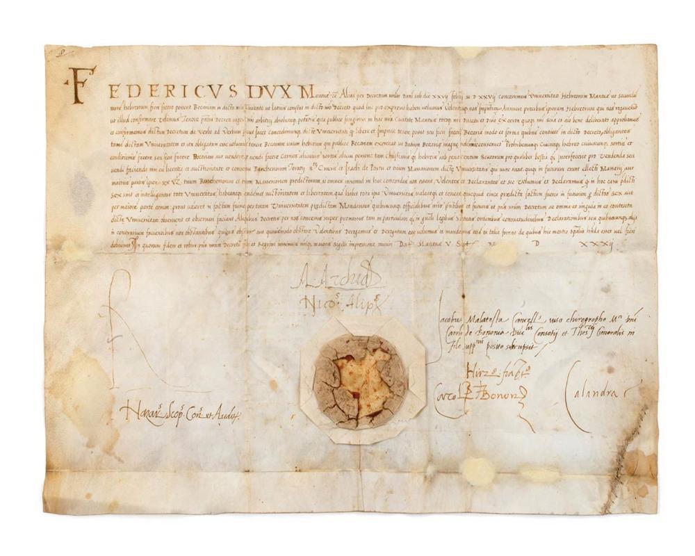 Early Charter Granted to the Jewish Community of Mantua, 1532 – Permission to Establish a Kosher Slaughterhouse – Manuscript on Vellum