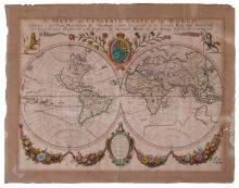 World Map - Hand-Colored Engraving - England, 17th Century