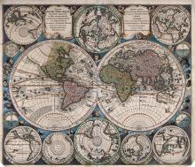 World Map - Hand-Colored Engraving - Augsburg, 18th Century