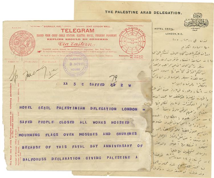 Collection of Telegrams and Paper Items - The Palestine-Arab Delegation to London, 1921-1922