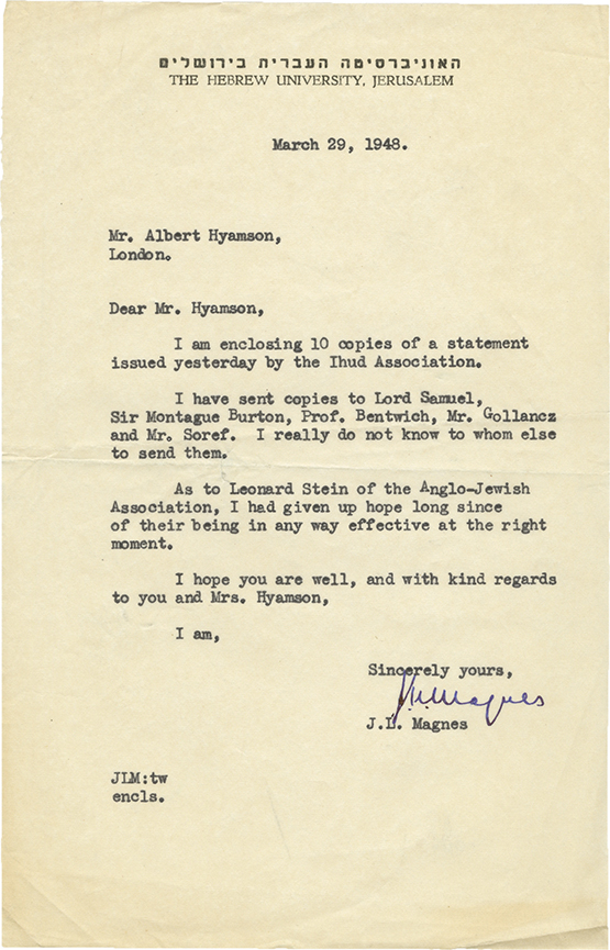 Collection of Documents and Letters from the Estate of Albert Montefiore Hyamson - Anti-Zionist Plan Submitted to the Anglo-American Committee of Enquiry and Letters to and from J.L. Magnes - 1940s