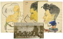 Caricatures Drawn by Hand and a Photograph - Jewish German and Austrian Refugees in a Farm in England, 1938
