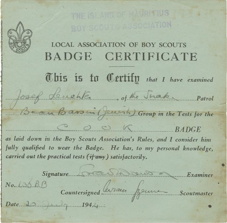 Collection of Paper Items - Boy Scouts Association in an Internment Camp on the Island of Mauritius, 1941-1943