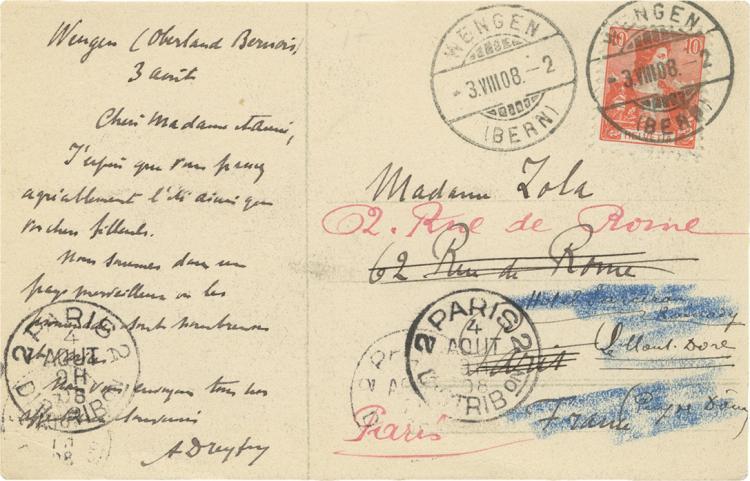 Alfred Dreyfus - Postcard to Madame Emile Zola, 1908