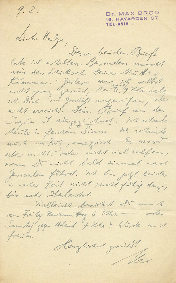 Collection of Letters, Postcards and Paper Items from the Archive of Nadja Taussig - About 70 Letters from Max Brod and Dozens of Letters from Jewish-German Intellectuals