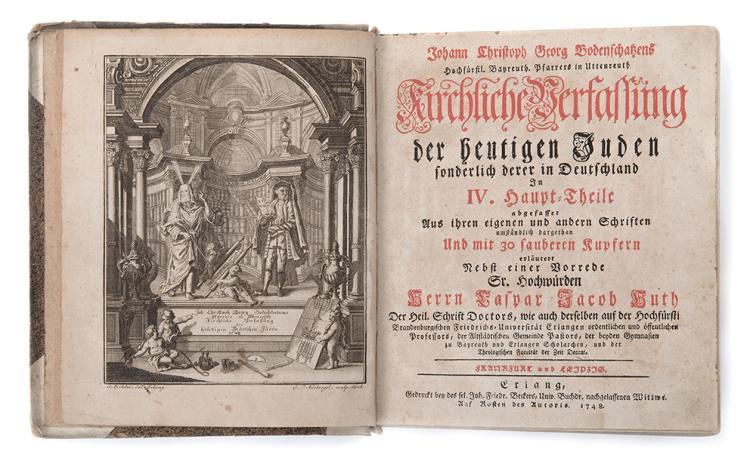 Book by Johann Christian Georg Bodenschatz - Frankfurt and Leipzig, 1748-1749 - Engravings Depicting Jewish Customs in Germany
