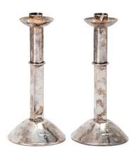 Silver Plated Candlesticks - Bernard (Dov) Friedlander