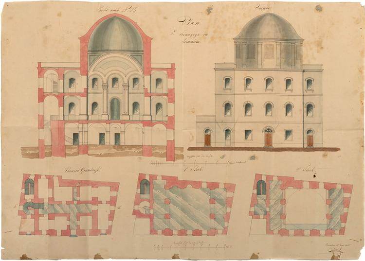 arly Architectural Drawing of the Tiferet Yisrael Synagogue - Jerusalem, 1855
