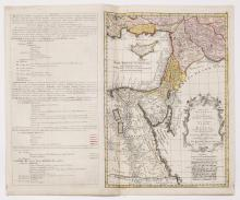 Detailed Map of Eretz Israel, Syria and Egypt ? Engraving Colored by Hand