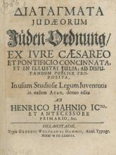 Composition ? Decrees and Laws Concerning German Jews ? 1683
