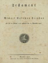 Will of the Jeweler Michael Salomon Freyhan ? Breslau, 1827