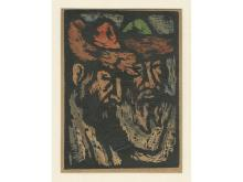 Miron Sima (1902-1999) – Hassidim – Hand-Colored Woodcut