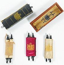 Three Miniature Printed Torah Scrolls