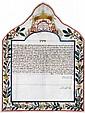 Colorful Ketubah on Parchment - Ancona, 1844