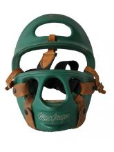 Hard green plastic MacGregor sparring mask with leather straps
