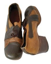 Pair of tan and brown leather platform shoes