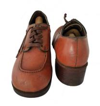Pair of rich brown leather lace-up platform shoes owned and worn by Bruce Lee