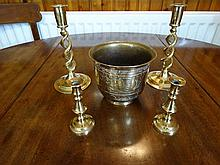Brass jardinière, candlesticks, etc.