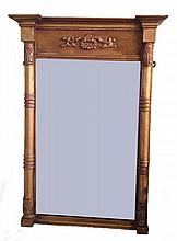 An old gilt framed wall mirror, 31in x 19in.