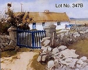 A fine oil on panel - 'The Blue Gate, Ballyconnelly' - Cecil Maguire, RUA - 14in. x 18in. As illustrated.