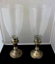 Pair Sterling Silver Etched Glass Candlesticks