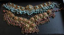 Turquoise & Coral Gilt Metal Necklaces
