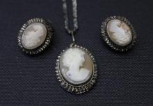 Antique Italian Cameo & Silver Necklace & Earrings