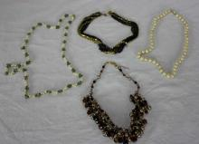 Four Vintage Costume Jewelry Necklaces