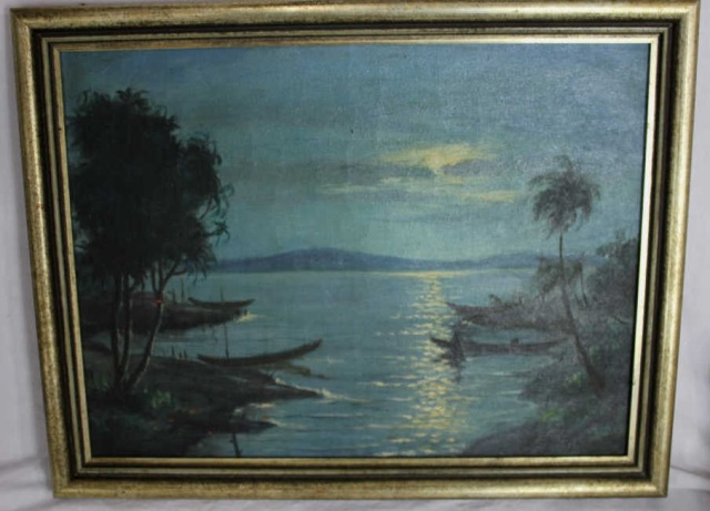 Antique Oil Painting - Moon Lit Landscape Luminist