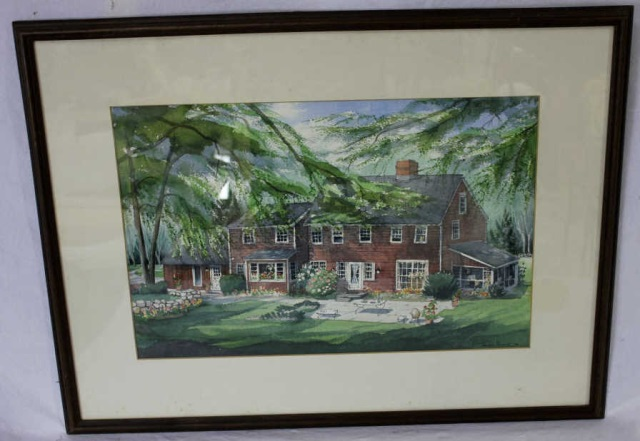 Watercolor Large Country Style American Farmhouse