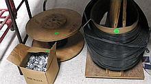 Lumber / material banding strip, clips & tool .