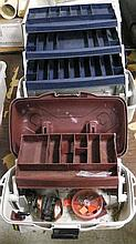2 tackle boxes & 1 reel .