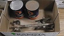 Antique motor oil cans & vintage ice skates .