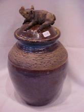 Art pottery jar w/lid & pig figure