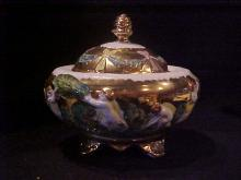 Hand painted lidded jar  w/gold trim