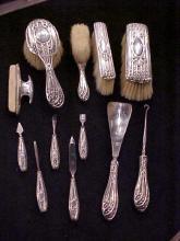 Lot of 12 Sterling Silver handled Brush Set