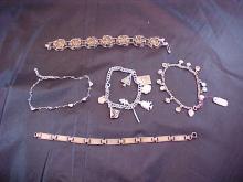 Lot of 5 Silver Bracelets