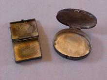 Lot of 2 Silver Pill Boxes