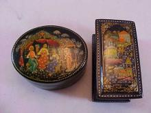 Lot of 2 Enameled Pill Boxes