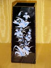 Attributed to Moser Black Amethyst Handpainted Decorated Vase