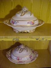 Pair of Old Paris Covered Turines/Entrée Dishes