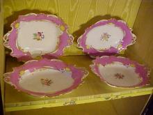 Lot of 4 Old Paris Porcelain Platters