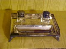 Silverplate and Crystal Inkwell Desk Set