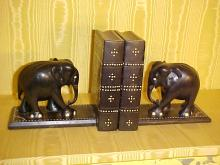 Ebony and Ivory Pair of Elephant Bookends