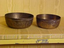 Lot of 2 Brass Chinese Rice Bowls