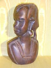 Wooden Handcarved African Woman Bust
